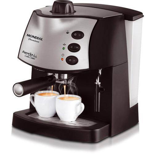 CLIQUE ➤➤ Cafeteira Elétrica Mondial Espresso Coffee Cream Premium C-08 15 Bar – Preto   oferta com preço barato em Promoção no site de loja