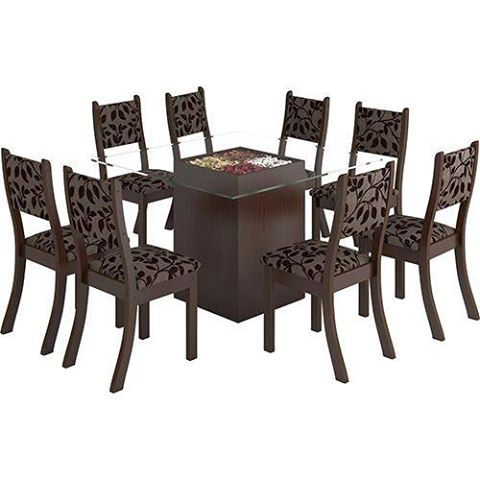 CLIQUE ➤➤ Conjunto de Mesa de Jantar Vitória Tampo de Vidro 120 com 8 Cadeiras Fit Ameixa/Marmota – at.home   oferta com preço barato em Promoção no site de loja