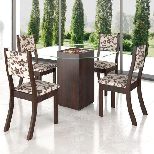 CLIQUE ➤➤ Conjunto De Mesa Para Sala De Jantar Meline Com Vidro E 4 Cadeiras Nogueira/Brownie   oferta com preço barato em Promoção no site de loja