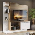 Estante Multimóveis com duas portas Argila Acetinado com Branco Texturizado – Para tv até 50″