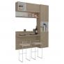 Cozinha Compacta 1,3m Com Bancada, Armários 3 Portas E Nichos Prisma Ronipa ❤