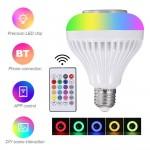 Alto-falante bt de lâmpada LED E27, lâmpada de troca 6W rgb áudio estéreo sem fio com controle remoto de 24 teclas