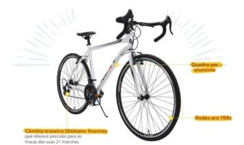 Bicicleta Ozark Trail Aro 700 Next Highway 1 Branca 21 Marchas Speed Câmbio Shimano T