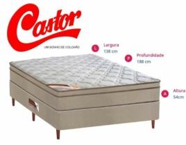 Conjunto Cama Box Casal Castor + Colchão Casal Revolution Mola Bonnel One face Castor 138x188x27cm
