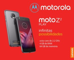 Smartphone Motorola Moto Z2 Play Dual Chip Android 7.1.1 Nougat Tela 5,5″ Octa-Core 2.2 GHz 64GB Câmera 12MP – Platinum