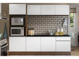 Cozinha Compacta com Balcão Multimóveis Linea – Nicho para Forno Micro-ondas 8 Portas 1 Gaveta