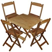 Jogo Mesa 4 Cadeiras Madeira 60 por 60 Dobráveis Sem Pintura