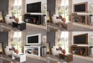 Rack pra TV até 47″ com Mesa de Centro e Painel – Multimóveis Inovare ( 3 Itens )