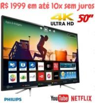 Smart TV LED 50″ Philips 50PUG6102/78 UHD 4K com Conversor Digital 4 HDMI 2 USB Wi-fi 60hz – Preta