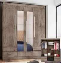 Guarda-roupa Casal 4 Portas 4 Gavetas Araplac – 4400-55 com Espelho