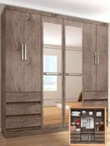 Guarda-roupa Casal 6 Portas 6 Gavetas – Araplac Bento com Espelho