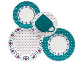 Aparelho de Jantar 20 Peças Biona Cerâmica – Redondo Colorido Donna