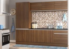 Cozinha Compacta Multimóveis Línea com Balcão 8 Portas 1 Gaveta 3 Opções de Cores!!