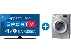 Smart TV LED 65″ Samsung 4K/Ultra HD 65MU6100 –  Conver. Digital + Lava e Seca Samsung 10,2kg WD400 Bivolt