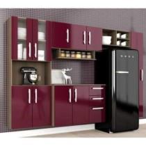 Cozinha Compacta C7080| 5 Peças Terraro/Fucsia – Moveis Arapongas