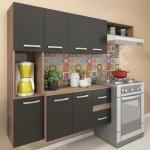 Cozinha Compacta 7 Portas 2 Gavetas Suspensa Armário E Balcão Anita Teka/grafite – Pnr Móveis