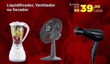 Liquidificador Fama FLQ01B Branco 4 Velocidades – 900W ou Liquidificador Mondial Cozinha NL-26 – 2 Velocidades 500W ou Secador de Cabelo Mondial Power Shine Black – com Ìons 1900W 2 Velocidades