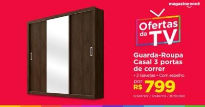 Guarda-Roupa Casal 3 Portas de Correr 2 Gavetas – Demóbile Residence com Espelho Ebano