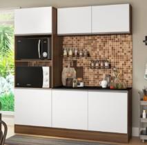 Cozinha Compacta com Balcão Multimóveis Linea – Nicho para Forno Micro-ondas 6 Portas
