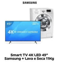 "Smart TV 4K LED 49"" Samsung NU7100 Wi-Fi HDR – Conversor Digital + Lava e Seca 11kg Branca"