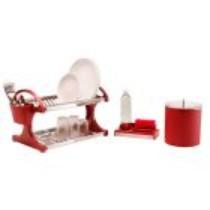 Kit para Pia 3 peças: Escorredor para 16 pratos com Suporte para Talheres + Lixeira 5,4L + Organizador, cor Vermelha Suprema – Brinox código do produto: 641616
