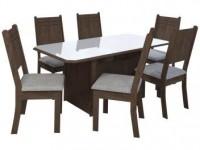 Mesa de Jantar 6 Cadeiras Retangular Indekes – Cristal Noce, Off White e Linho