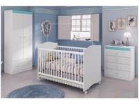 Quarto de Bebê Completo com Berço Guarda-Roupa – Cômoda Móveis Estrela Satriani