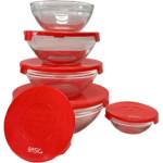 Conjunto de Potes de Vidro Redondos e Tampa Plástica Vermelha 5 peças – Basic+