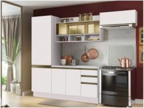 Cozinha Compacta Madesa New Glamy – com Balcão 7 Portas 2 Gavetas Com Vidro Reflecta Branco