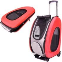 Carrinho de passeio e transporte pet para cachorro caes e gatos 5 em 1 vira mochila bolsa compacto m – Faça resolva Vermelha (cód. 623712500)