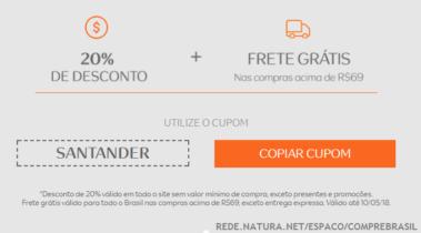 Desconto Natura Santander – cupom 20% OFF + Frete Grátis!