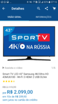 Smart TV LED 43″ Samsung 4K/Ultra HD 43MU6100 – Wi-Fi 3 HDMI 2 USB DLNA A partir de R$2.099,00