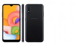 """Smartphone Samsung Galaxy A01 Preto 32GB, Tela Infinita de 5.7 """", Câmera Traseira Dupla, Android 10.0, Dual Chip e Processador Octa-Core"""