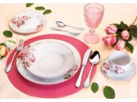 (LINDÍSSIMO) Aparelho de Jantar 30 Peças Casambiente – Porcelana Redondo Branco e Rosa Vintage Rose