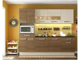 Cozinha Compacta Madesa Glamy Rubi com Balcão – 10 Portas 2 Gavetas Amadeirado