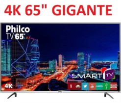 Smart TV LED 65″ Philco PTV65f60DSWN Ultra HD 4k com Conversor Digital 3 HDMI 2 USB Wi-Fi 60Hz – Preta