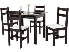 (PRECINHO) Conjunto de Mesa com 4 Cadeiras Milão – Fritz Móveis Tabaco / Branco  – Preto/branco