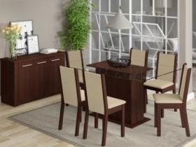 Conjunto de Mesa com 6 Cadeiras Estofadas Madesa – Aline