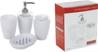 Kit Organização do seu banheiro: Porta sabonete líquido, Saboneteira, Porta escova e Copo multiuso, Branco- Hauskraft